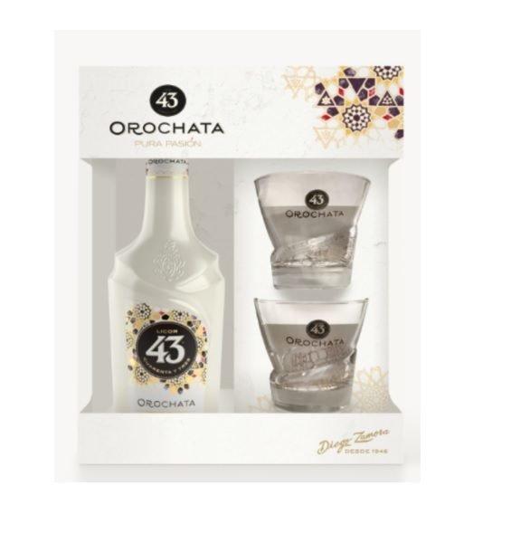 Licor Orochata met 2 glazen