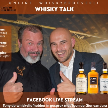 Samples 4x25ml Online Whiskyproeverij Jura o.l.v. Tony van Rooijen & Toon de Gier