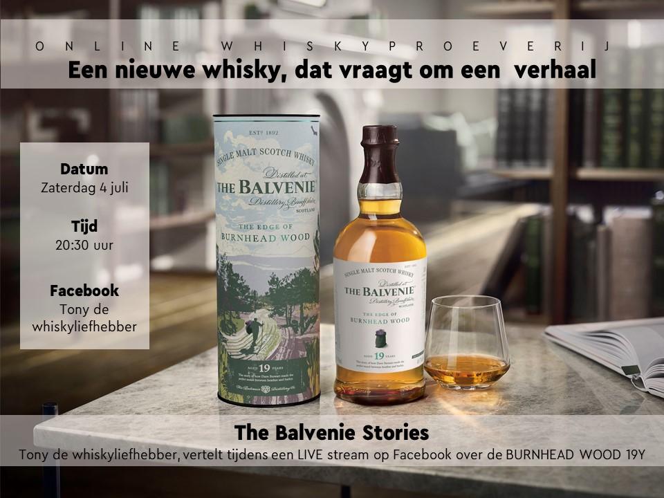 "Online Whiskyproeverij ""The Balvenie Stories"" Zaterdag 4  Juli o.l.v. Tony van Rooijen"