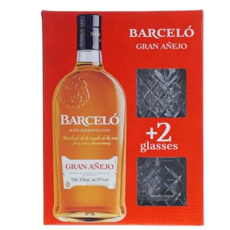 Gran Barceló Rum Gran Anejo 70cl met 2 glazen