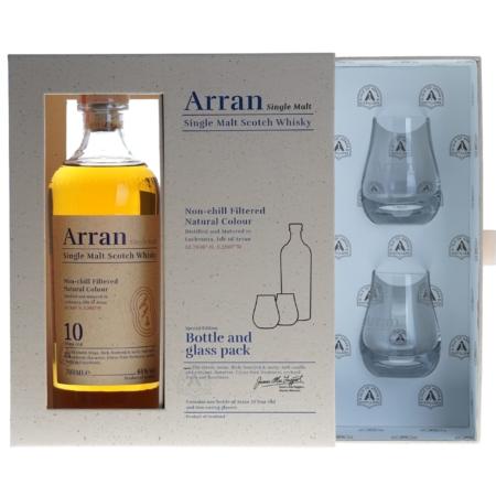 Arran Whisky 10 Years 70cl Giftpack met 2 glazen